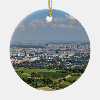 View Over Vienna From Kahlenberg Round Ceramic Ornament