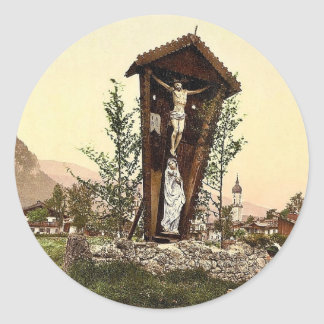 View showing crucifix, Garmisch, Upper Bavaria, Ge Classic Round Sticker