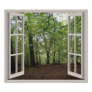View Through A Window To A Wood V2 Poster