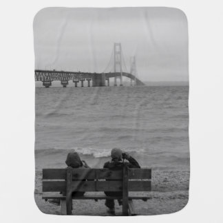 Viewing Mackinac Bridge Grayscale Baby Blanket