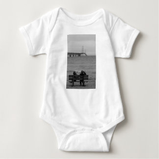 Viewing Mackinac Bridge Grayscale Baby Bodysuit