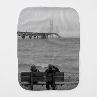 Viewing Mackinac Bridge Grayscale Burp Cloth