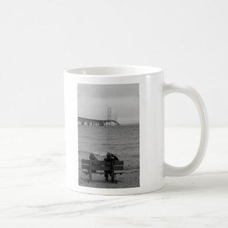 Viewing Mackinac Bridge Grayscale Coffee Mug
