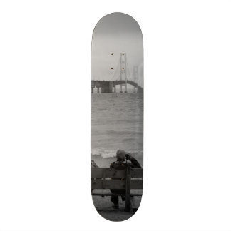 Viewing Mackinac Bridge Grayscale Custom Skate Board