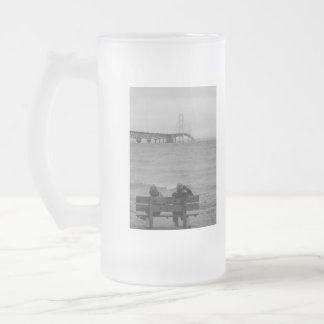 Viewing Mackinac Bridge Grayscale Frosted Glass Beer Mug