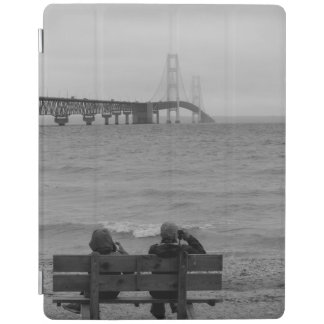 Viewing Mackinac Bridge Grayscale iPad Cover