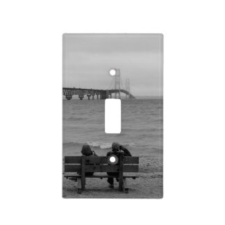 Viewing Mackinac Bridge Grayscale Light Switch Cover