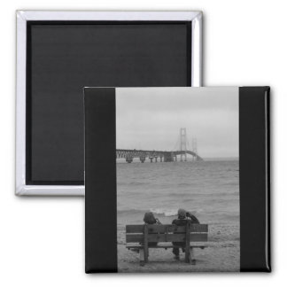 Viewing Mackinac Bridge Grayscale Magnet