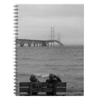 Viewing Mackinac Bridge Grayscale Notebook