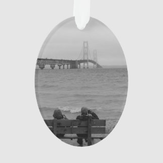 Viewing Mackinac Bridge Grayscale Ornament