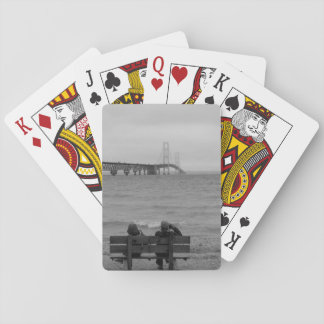 Viewing Mackinac Bridge Grayscale Playing Cards