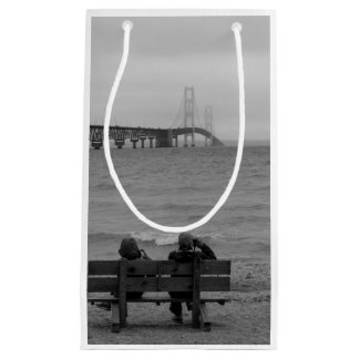 Viewing Mackinac Bridge Grayscale Small Gift Bag