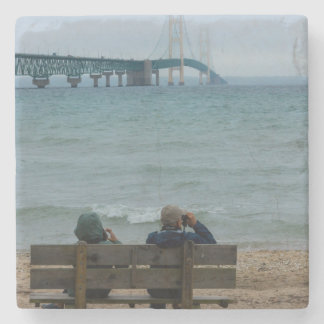 Viewing Mackinac Bridge Stone Coaster