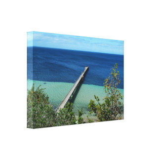 Views Of Ocean With Jetty From Cliff Tops, Canvas Print