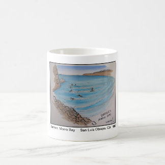 Views of San Luis Obispo, Surfers, Morro Bay Classic White Coffee Mug