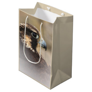 Vignetted Profile of a Peregrine Falcon Medium Gift Bag