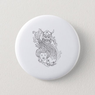 Viking Carp Geisha Head Black and White Drawing 2 Inch Round Button
