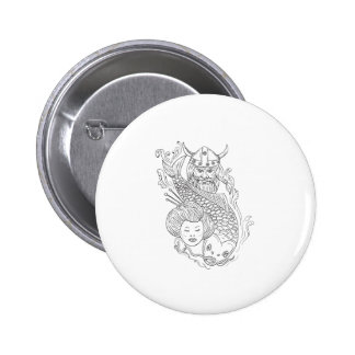 Viking Carp Geisha Head Black and White Drawing 2 Inch Round Button