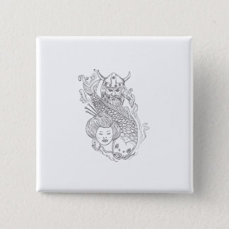 Viking Carp Geisha Head Black and White Drawing 2 Inch Square Button