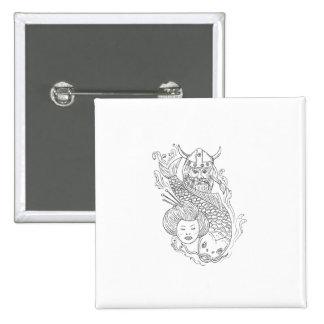 Viking Carp Geisha Head Black and White Drawing 2 Inch Square Button