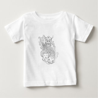 Viking Carp Geisha Head Black and White Drawing Baby T-Shirt