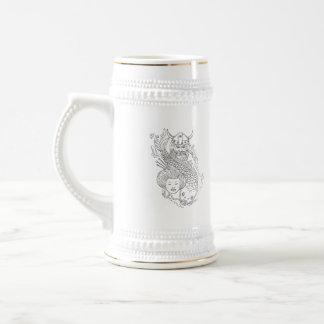 Viking Carp Geisha Head Black and White Drawing Beer Stein