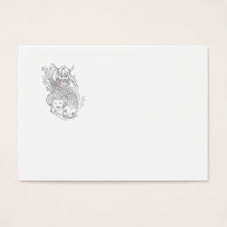 Viking Carp Geisha Head Black and White Drawing Business Card