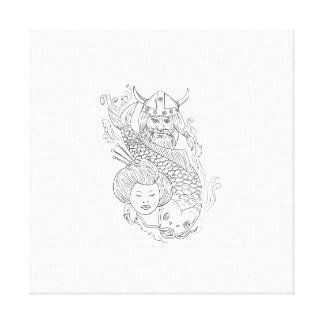 Viking Carp Geisha Head Black and White Drawing Canvas Print