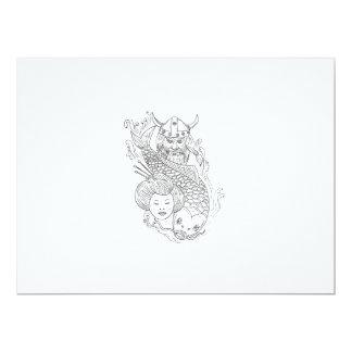 Viking Carp Geisha Head Black and White Drawing Card