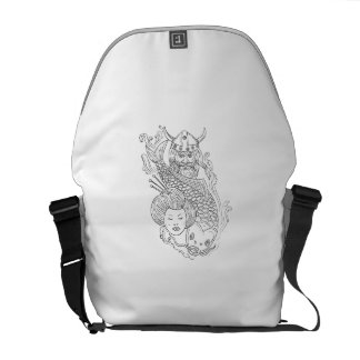 Viking Carp Geisha Head Black and White Drawing Courier Bag