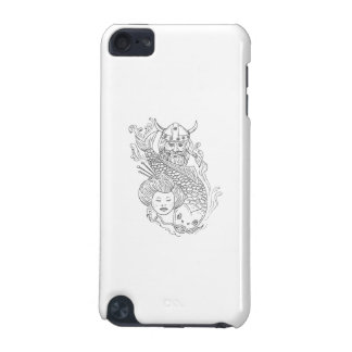 Viking Carp Geisha Head Black and White Drawing iPod Touch (5th Generation) Covers