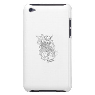 Viking Carp Geisha Head Black and White Drawing iPod Touch Covers