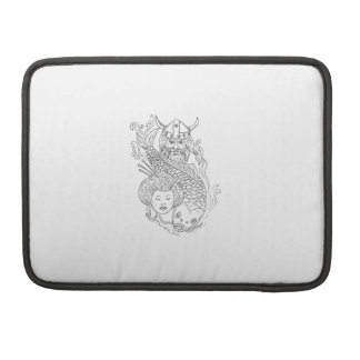 Viking Carp Geisha Head Black and White Drawing Sleeve For MacBook Pro