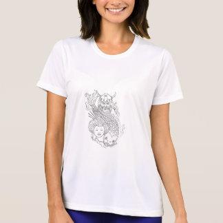 Viking Carp Geisha Head Black and White Drawing T-Shirt