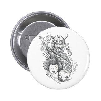Viking Carp Geisha Head Tattoo 2 Inch Round Button