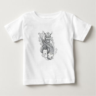 Viking Carp Geisha Head Tattoo Baby T-Shirt