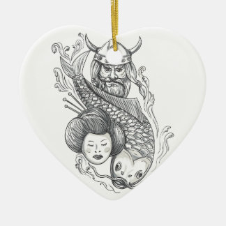 Viking Carp Geisha Head Tattoo Ceramic Heart Ornament