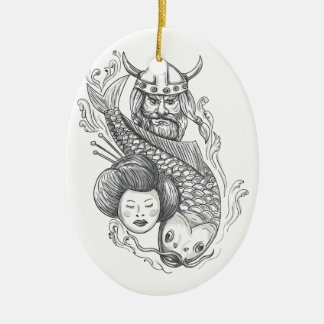 Viking Carp Geisha Head Tattoo Ceramic Ornament