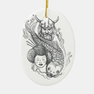 Viking Carp Geisha Head Tattoo Ceramic Oval Ornament