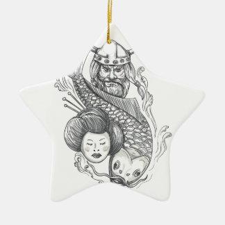 Viking Carp Geisha Head Tattoo Ceramic Star Ornament