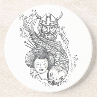 Viking Carp Geisha Head Tattoo Coaster