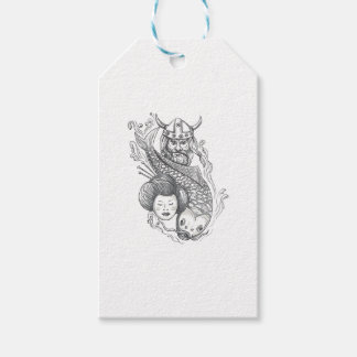 Viking Carp Geisha Head Tattoo Gift Tags