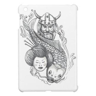 Viking Carp Geisha Head Tattoo iPad Mini Covers