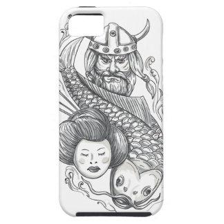 Viking Carp Geisha Head Tattoo iPhone 5 Case