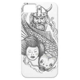 Viking Carp Geisha Head Tattoo iPhone 5 Cases