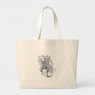 Viking Carp Geisha Head Tattoo Large Tote Bag
