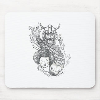 Viking Carp Geisha Head Tattoo Mouse Pad