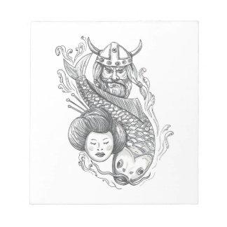 Viking Carp Geisha Head Tattoo Notepad