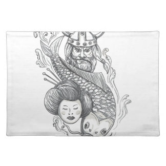 Viking Carp Geisha Head Tattoo Placemat