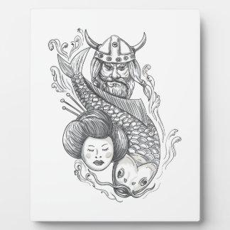 Viking Carp Geisha Head Tattoo Plaque